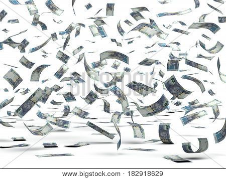 Falling South African Rand (isolated with clipping path) 3D Rendering