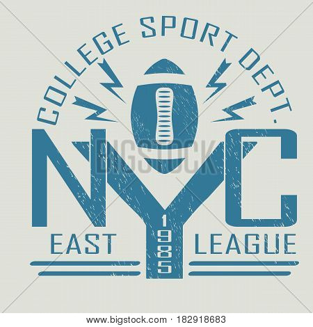 New York Sport Typography, University Football Athletic Dept. T-shirt graphics