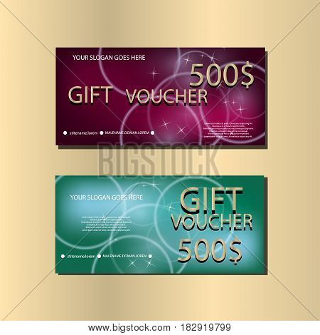 Gift Voucher Template With Sparkles and Golden Harts For your Design. Vector Illustration