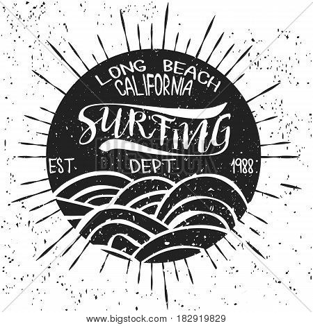 Surfing California t-shirt graphic print design. surf shirt print stamp. California surfers wear typography, Surf tee emblem. Vector retro surf print stamp