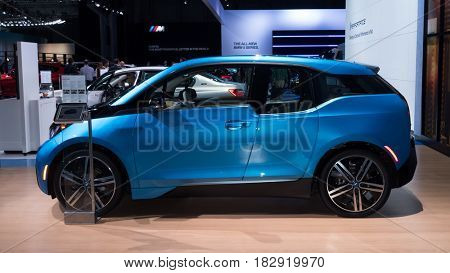 NEW YORK- APRIL 12: BMW i3shown at the New York International Auto Show 2017, at the Jacob Javits Center. This was Press Preview Day One of NYIAS, on April 12, 2017 in New York City