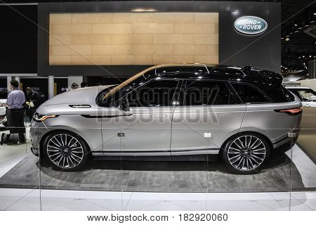 NEW YORK- APRIL 12: Range Rover Velar shown at the New York International Auto Show 2017, at the Jacob Javits Center. This was Press Preview Day One of NYIAS, on April 12, 2017 in New York City