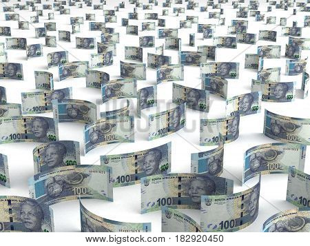 Scattered South African Rand (computer generated image) 3D Rendering