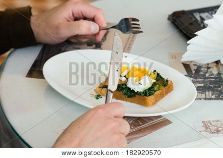 Poached eggs benedict served on toast with smoked salmon, avocado, grilled tomato and spinach, young woman eat breakfast with knife and fork
