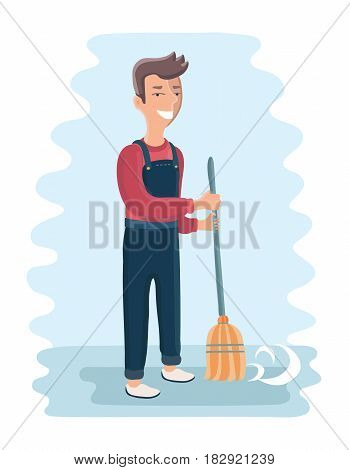 Vector cartoon illustration of smiling janitor sweeping the street with broom in his hands
