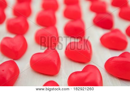 Straight View of Gummy Hearts in Parallel Lines