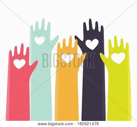 Vector cute cartoon illustration of different colors raised hands of people with hearts.