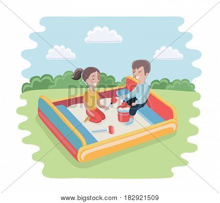 Vector cartoon funny illustration of happy kid playing in sandbox adorable cheerful little character. Childhood summer playground sand. Girl and boy play together
