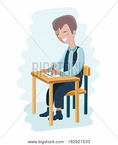 Vector cartoon illustration of happy school student filling out answers to exam test answer sheet with pencil sitting at a classroom desk.