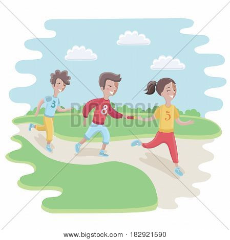 Vector caroon illustration of kids Participating in a relay race in the park or stadium