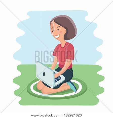 Vector cartoon illustration of happy young woman sitting on cushion with laptop in lap on the floor