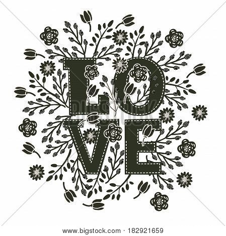 Vector black and white decorative card with floral decor and amazing hand drawn word