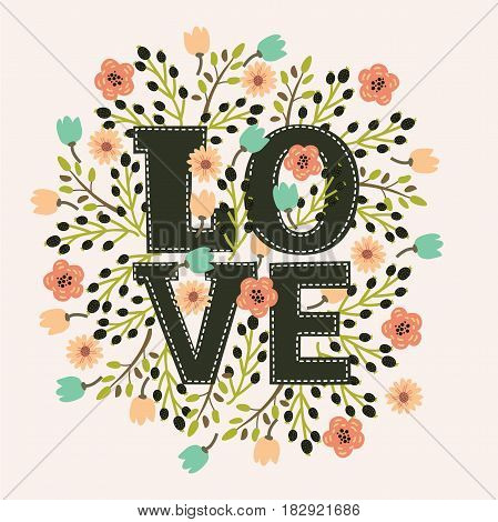 Vector decorative card with floral decor and amazing hand drawn word