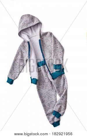 Gray children's sportive costume isolated on the white background. Jacket with hood. Sportive style of children. Concept of the children's fashion industry. Clothes for boys.
