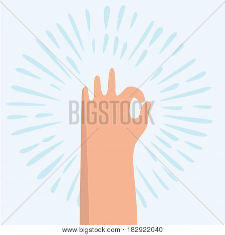 Vector cartoon funny illustration of ok hand sign