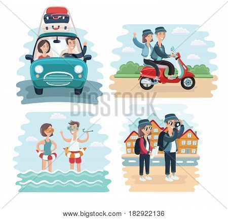 Vector cartoon illustration of young tourists couple. Family on vacation. Together scene. By car, riding on scooter, take photo of sights and splashing in the sea on reasort