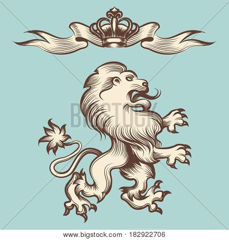 Hand drawn vintage engraving royal lion with crown and ribbon. Vector illustration