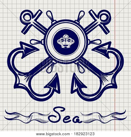 Royal fleet emblem design with hand drawn elements on notebook page. Vector illustration