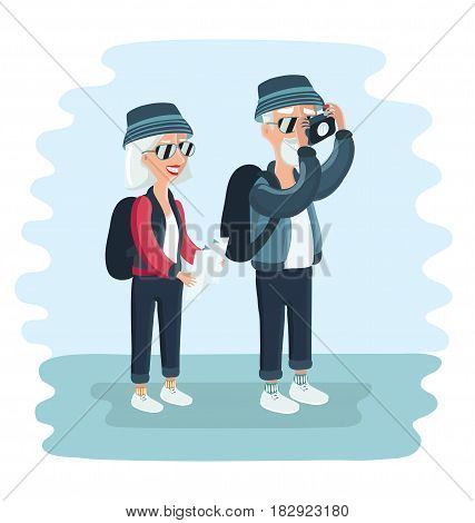 Vector cartoon illustration of grandparents tourists.Elderly couple with camera take pictures