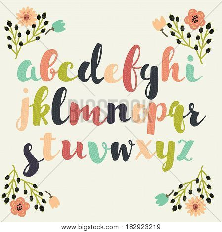 Vector color uppercase font letters in vintage color docorated with floral frame elements