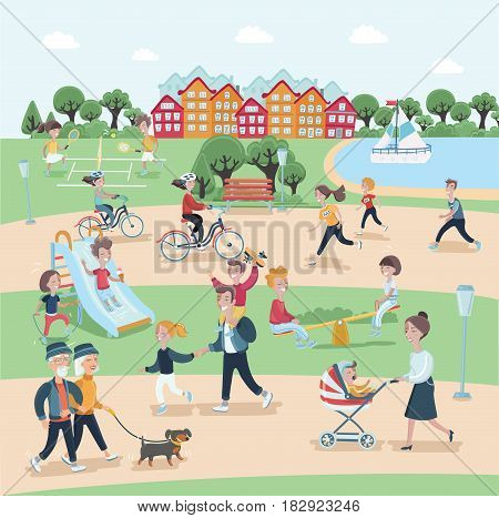 Vector cartoon illustration of people having activities in the park with rest. This content have detail of people activities in the park and rest with learn in park and use for advertising