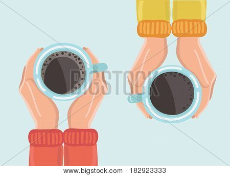 Vector illustration of two friends drinking coffee. Tea Coffee Break, Cup Mug, Top view of table in cafe. Woman frienship in automn. Friendly support in difficult times, woman conversation coffee house