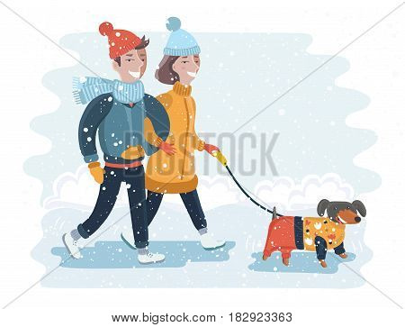 Vector illustration of happy couple walking in winter snow park with dog