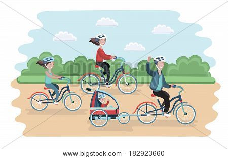 Vector illustration of family ride the bike in the park. Healthy leisure and freedom riding bike. Man, woman, boy and girl pedaling on summer time vacation. Sea shore in summer time. Flat vector color illustration