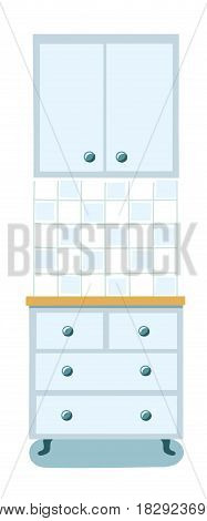 Vector illustration of interior element. Kitchen cabinet with drawers