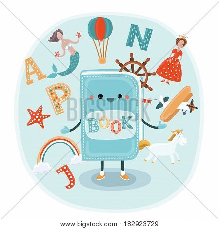 Vector cute cartoon illustration of illustration of a smiling book with face and fantasy kids world around and in. Farytale characters: meremid, unicorn, wheel sheep, ballon, rainbow, airplane, princess. Reading process in traveling