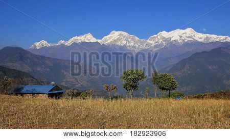 Manaslu range and valley seen from a place near Ghale Gaun Nepal.