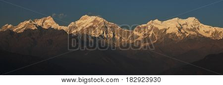 Manaslu range just before sunset. View from Ghale Gaun Nepal.