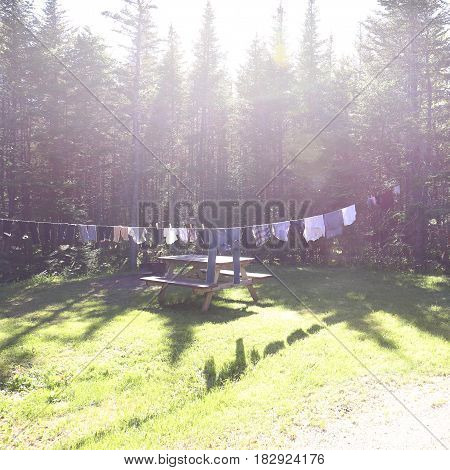 campsite clothes line, laundry on a sunny day