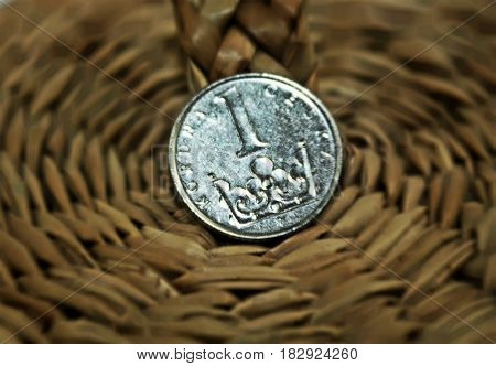 Czech one crown coin. Czech currency or economic symbol.