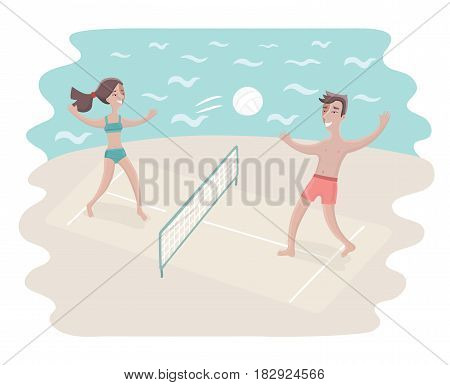 Vector cartoon funny illustration of young Friends Playing Volleyball On Beach.