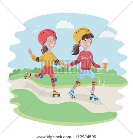 Vector cartoon funny cute illustration of boy and girl, wearing a helmet, knee pads, elbow pads is roller-skate
