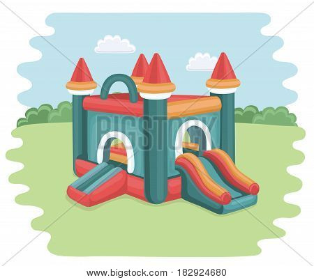 Vector cartoon illustration of bouncy castle on playground. inflatable games for childrens in the park