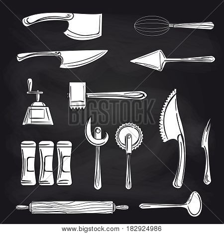 Black and white cutlery on chalkboards background. Vector hand drawn knifes scoop and other cutlery objects