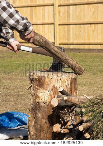 axe splitting camp fire wood on a stump with male hand holding log.