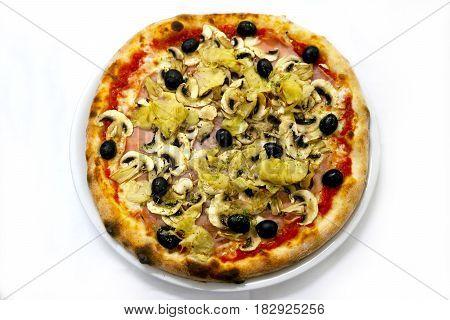 Pizza capriciosa mozzarela Italian food pizza,ham mushrooms olives