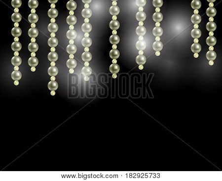 Abstract Sparkling Holiday Background with Shining Stars and Pearls. Vector Illustration.