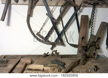 Old ancient obsolete tool work equipment objects
