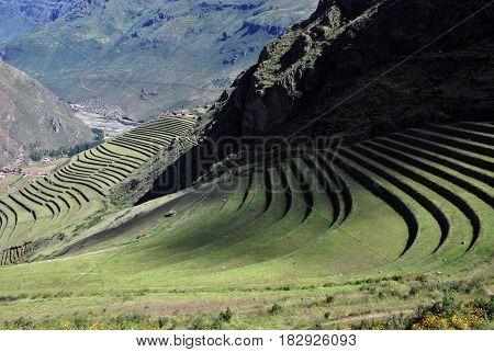 Terraces in Pisac in the Urubamba Valley, Peru