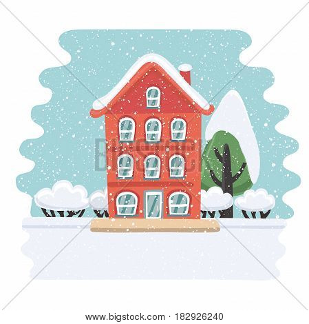 Vector illustration of winter house. Christmas card, poster or banner. Snowy landskape