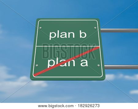 Business Concept Road Sign: Plan A And Plan B 3d illustration