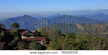 View from Baglungpani Nepal. Hills mountain ranges and valleys near Pokhara.