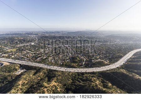 Aerial view of the Eagle Rock neighborhood and Ventura 134 Freeway in Los Angeles, California.