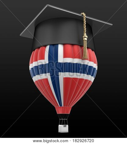 3D Illustration. Hot Air Balloon with Norwegian Flag and Graduation cap. Image with clipping path