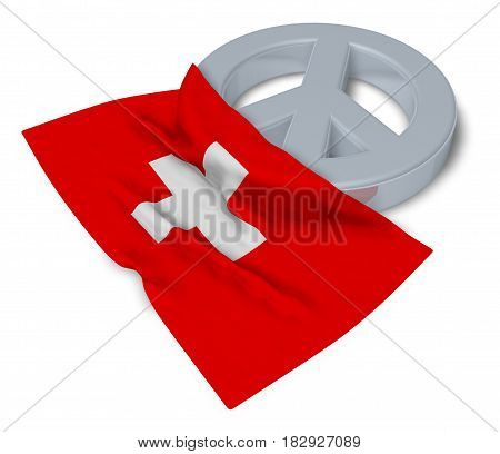 peace symbol and flag of switzerland - 3d rendering