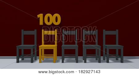 number one hundred and row of chairs - 3d rendering
